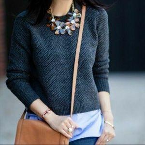 J Crew Gray Wool Long Sleeve Shirttail Sweater
